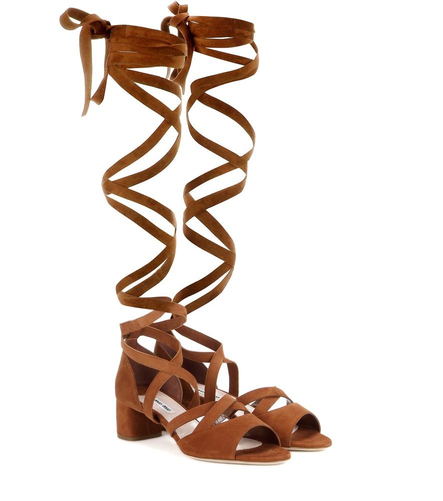 5e421c79273 Lyst - Miu Miu Suede Knee-High Gladiator Sandals in Orange
