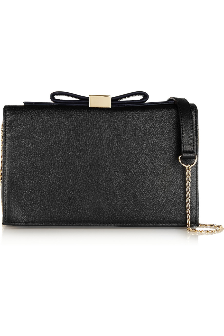 See by chlo�� Nora Bow-Embellished Textured-Leather Clutch in Black ...