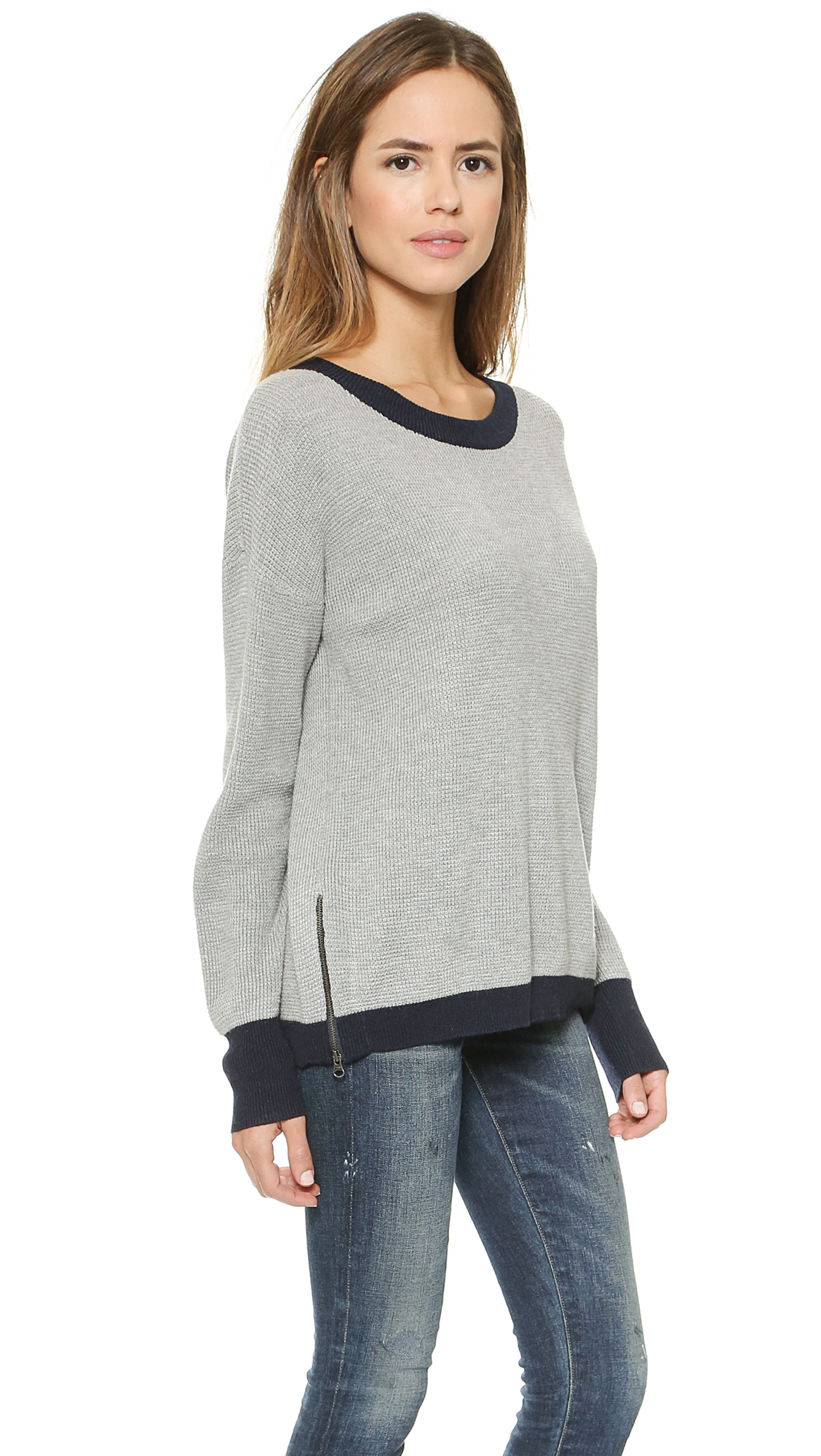 Feel the piece Cece Sweater - Heather Grey/navy in Gray | Lyst