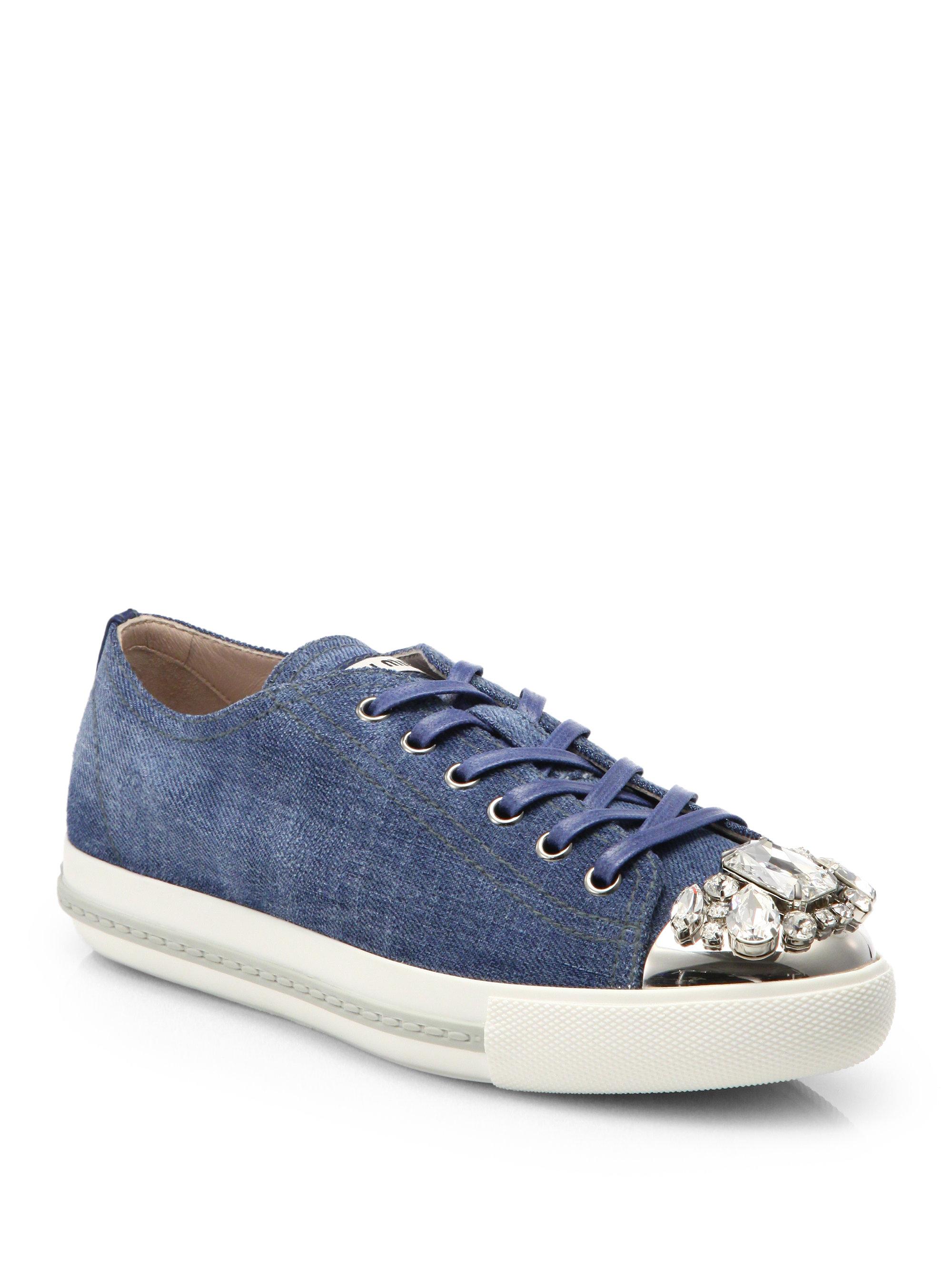 miu miu denim crystaltoe laceup sneakers in blue lyst. Black Bedroom Furniture Sets. Home Design Ideas