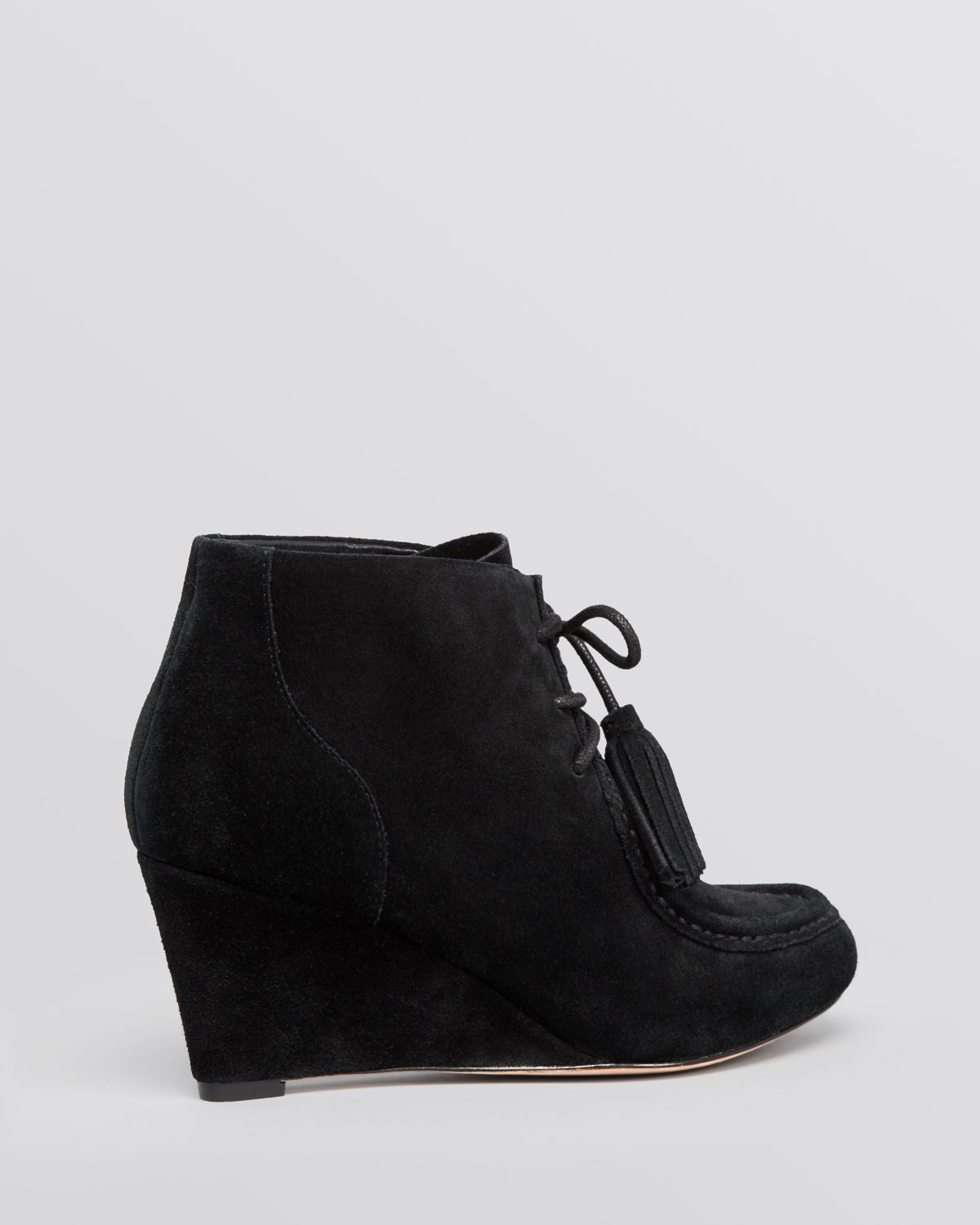Lyst Rebecca Minkoff Lace Up Wedge Booties Mia In Gray