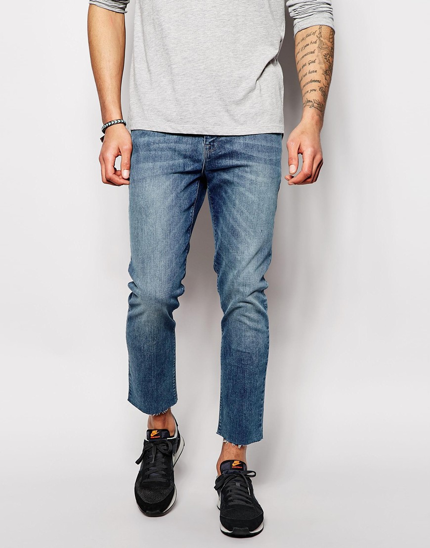 4655efd5ca5 ASOS Skinny Jeans In Mid Wash With Raw Edge Hem in Blue for Men - Lyst