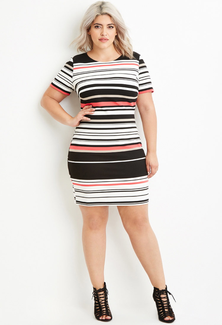 262c678dc1a Forever 21 Plus Size Ribbed Knit Stripe Dress in Black - Lyst