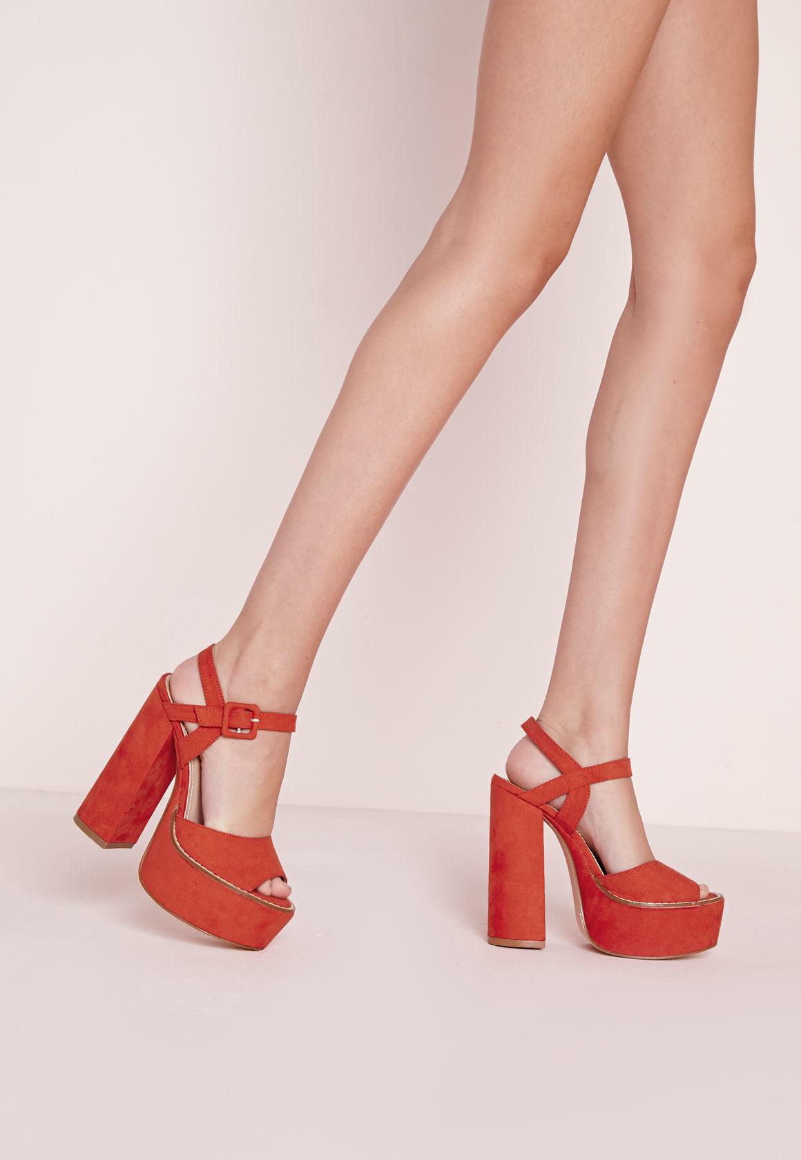 2388a7dfa2b Lyst - Missguided 70 s Platform Block Heel Sandals Orange in Orange