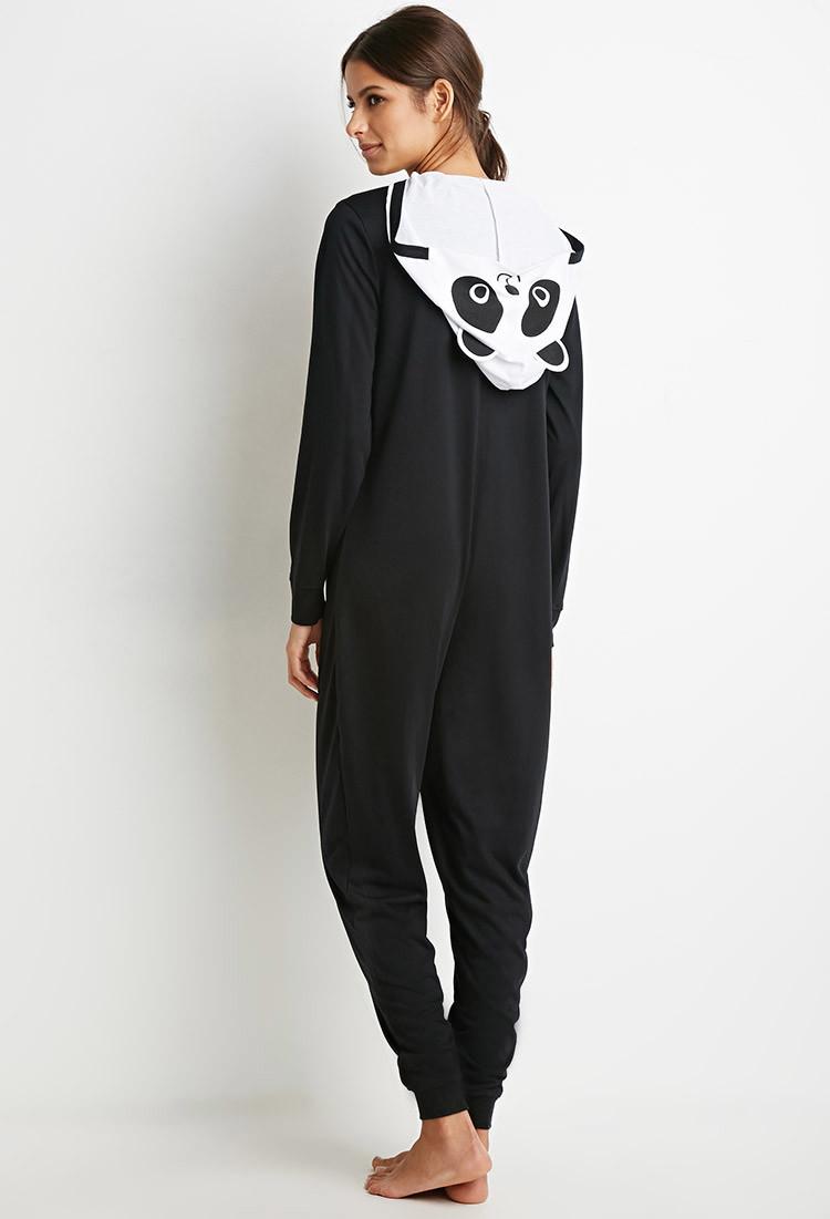 Forever 21 Panda Graphic Pj Jumpsuit In Black Lyst