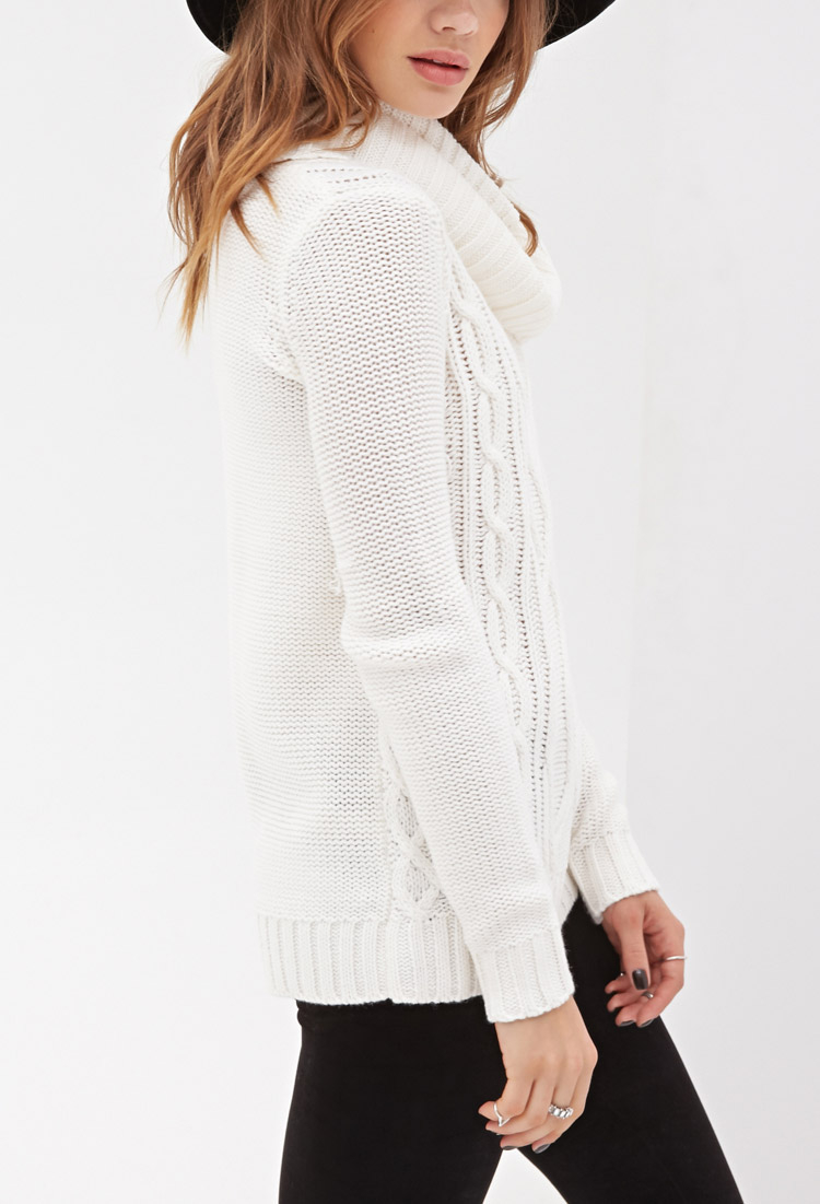 Forever 21 Turtleneck Cable Knit Sweater in White | Lyst