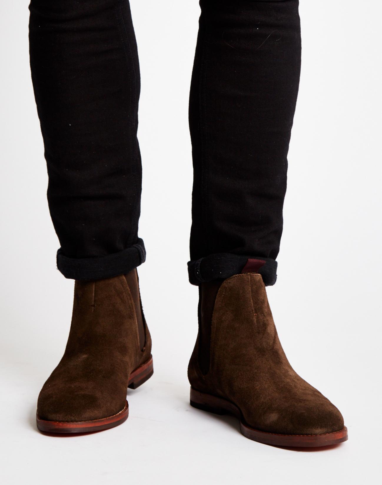 Hudson Jeans Tamper Suede Chelsea Boots In Brown For Men