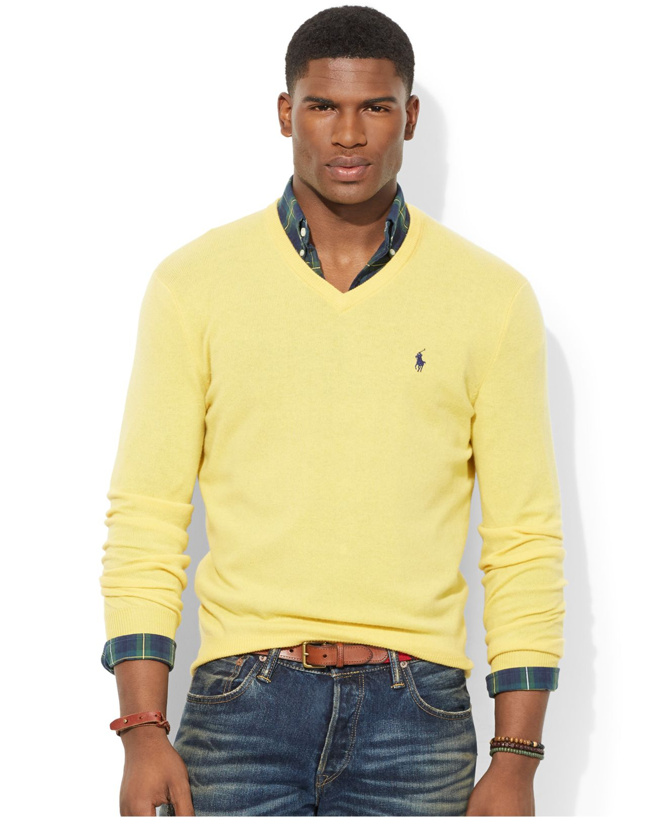 5ddf12243 Polo Ralph Lauren Loryelle Merino Wool V-Neck Sweater in Yellow for ...