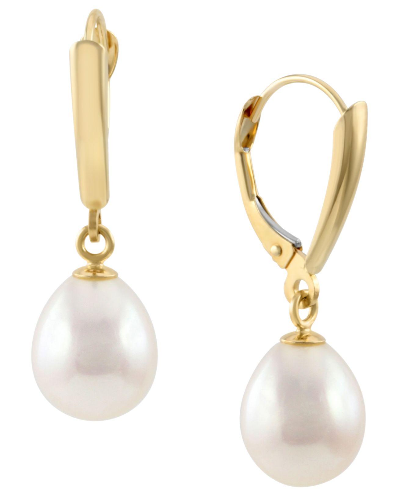 Macy S 10k Gold Earrings Cultured Freshwater Pearl Leverback