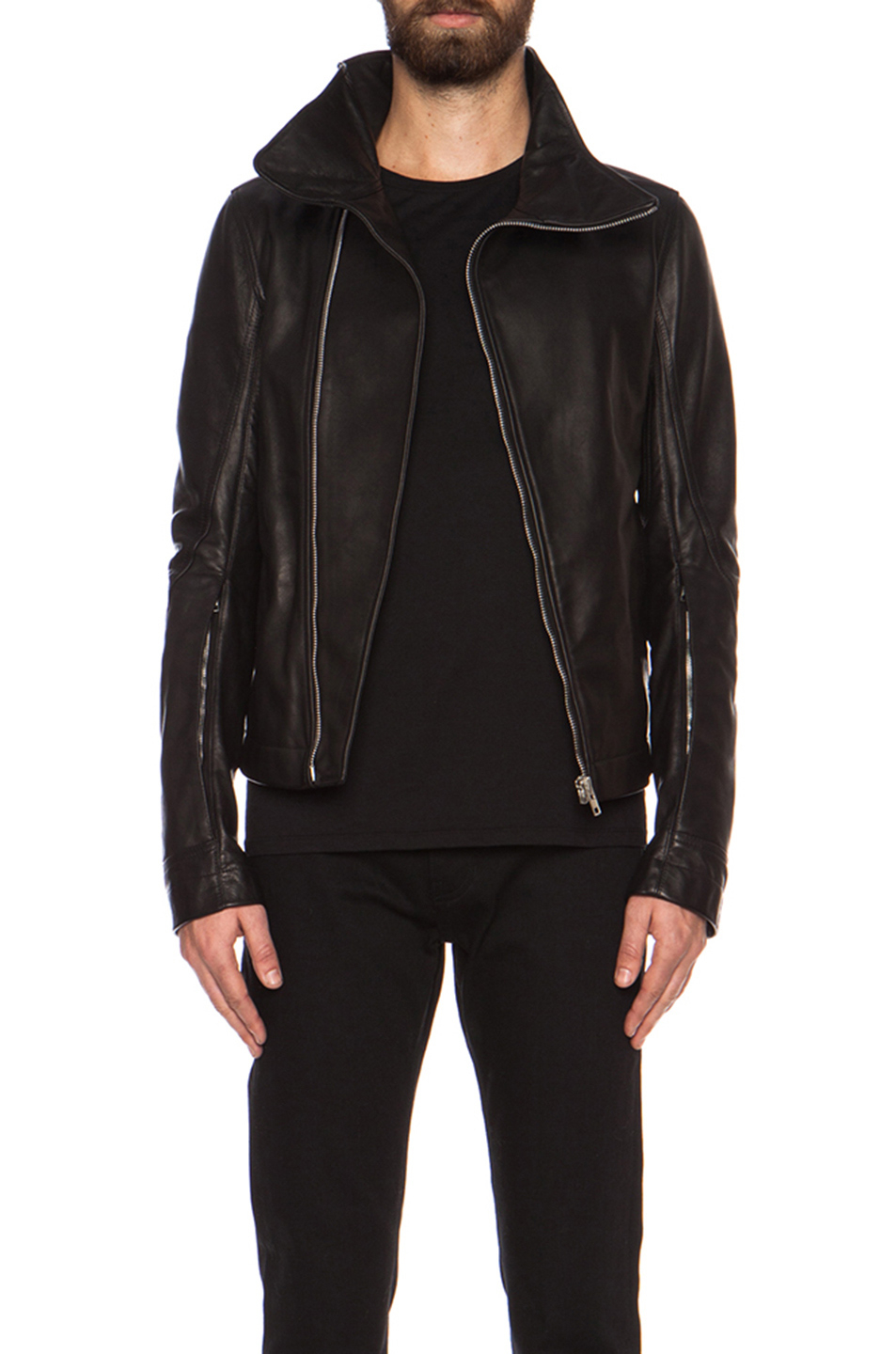 rick owens bauhaus leather jacket in black lyst. Black Bedroom Furniture Sets. Home Design Ideas