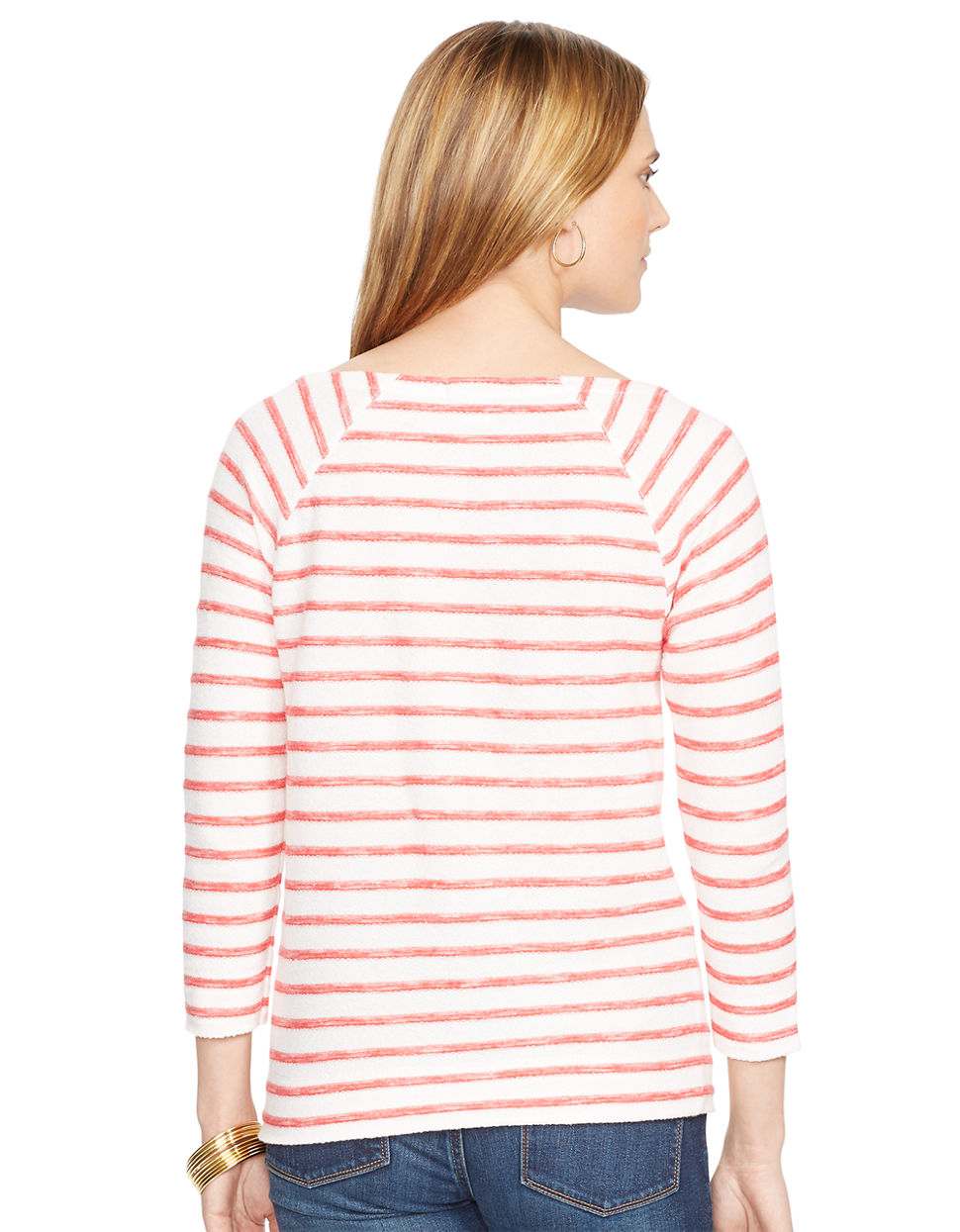 lauren by ralph lauren striped french terry pullover in pink pearl multi lyst. Black Bedroom Furniture Sets. Home Design Ideas