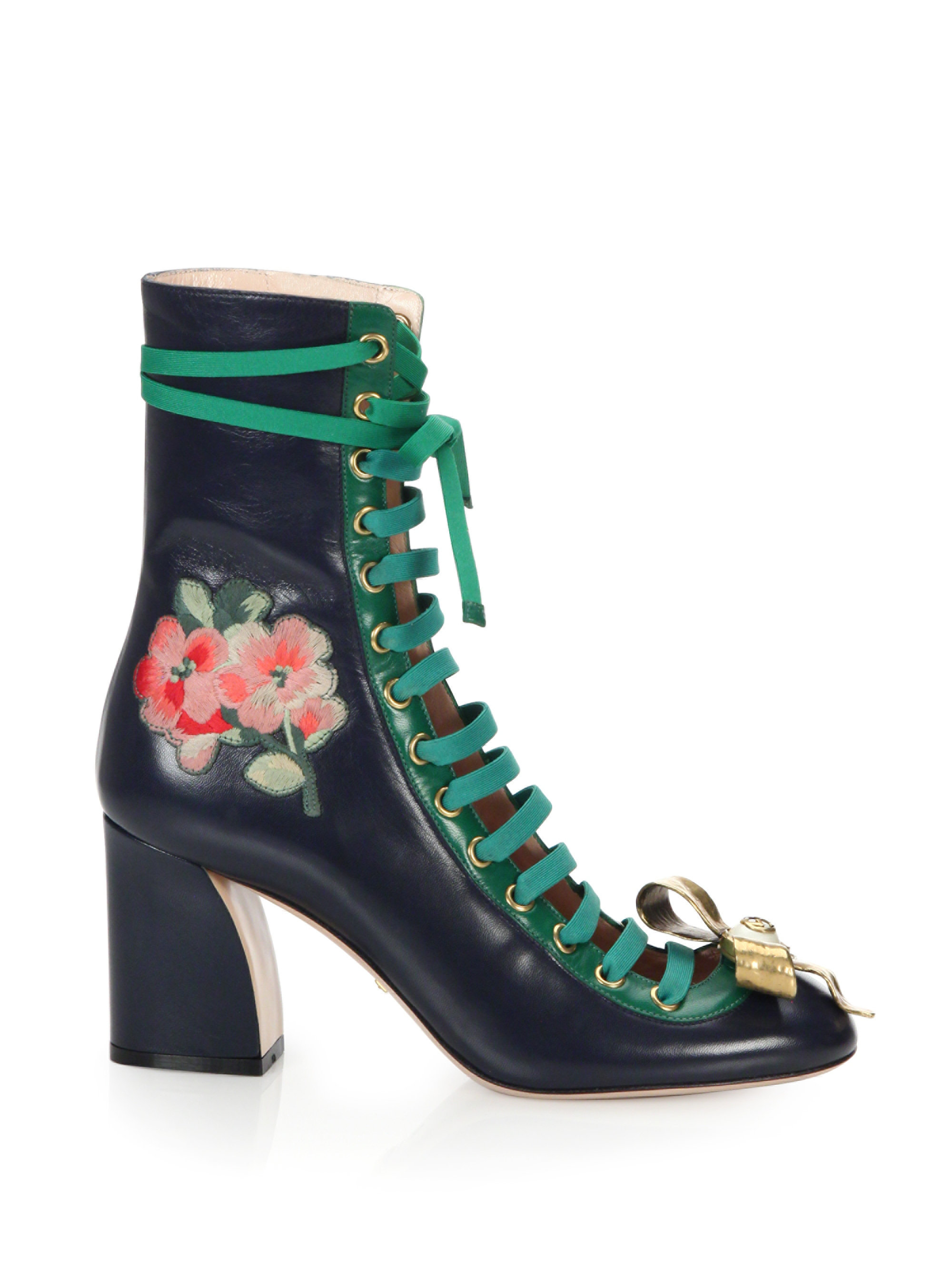 gucci finnlay leather lace up ankle boots lyst