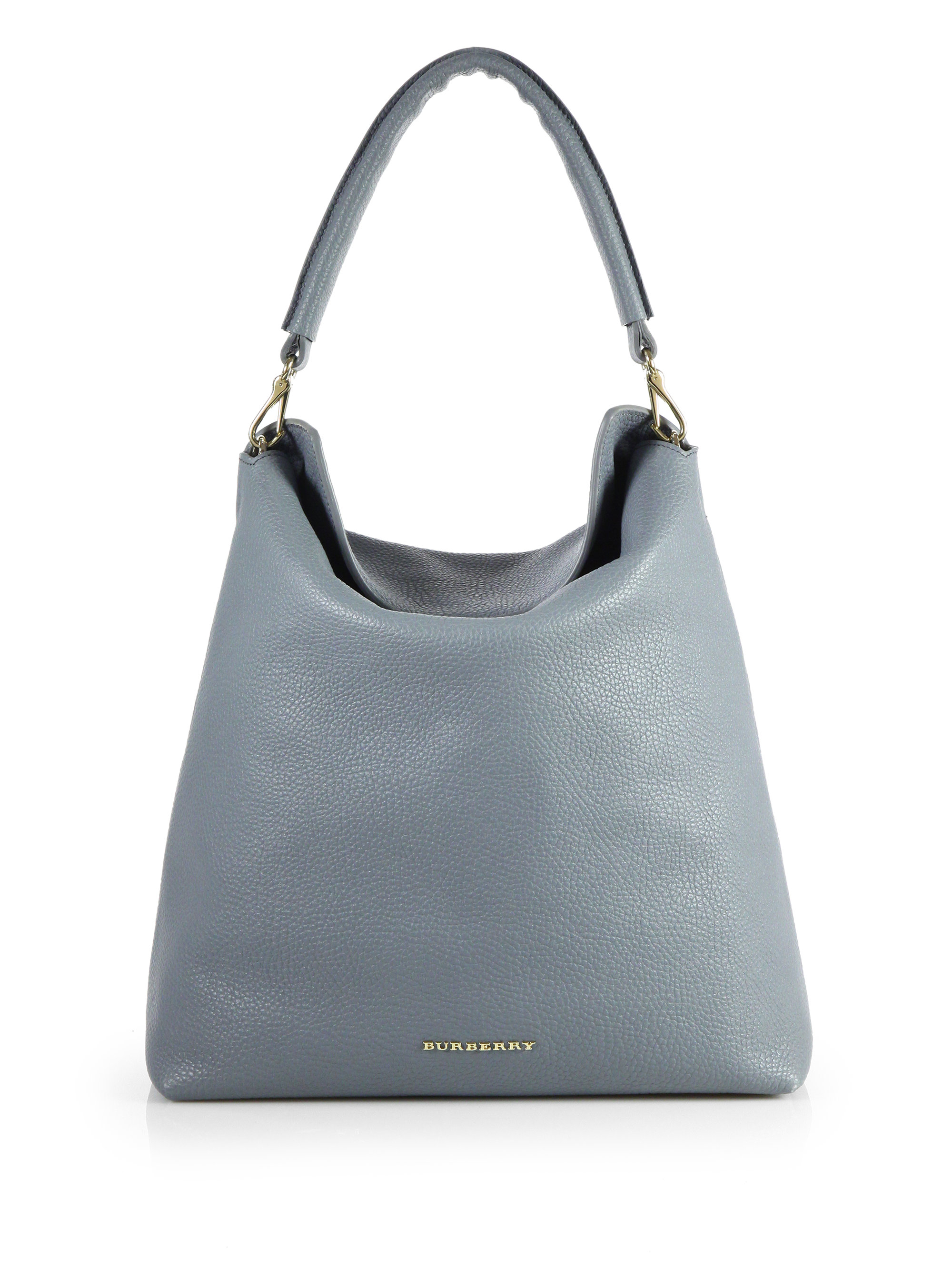 4b31d36858bb Lyst - Burberry Pebble Leather Hobostyle Tote in Gray