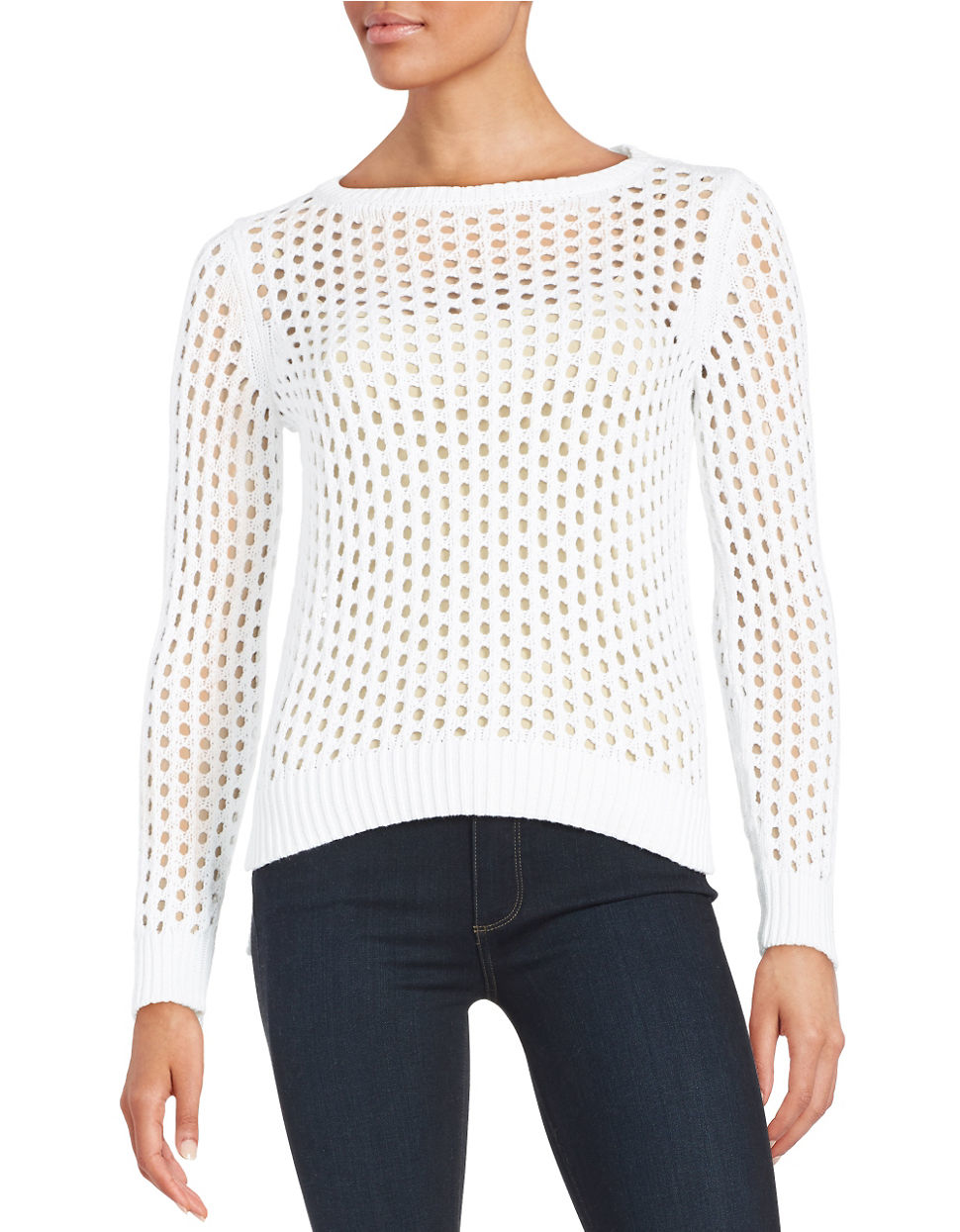 68a8882a4080d8 Michael Michael Kors Petite Open-knit Hi-lo Sweater in White - Lyst