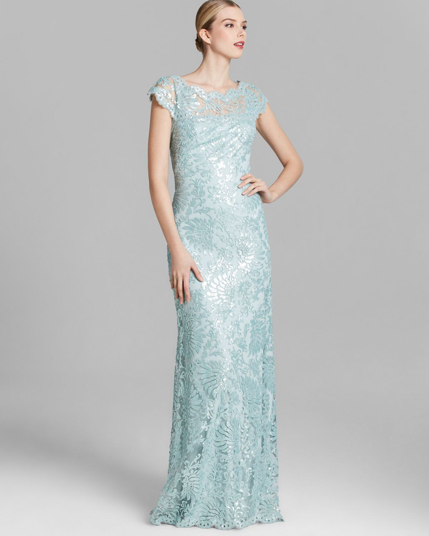 Tadashi Shoji Shoji Gown Cap Sleeve Illusion Neckline Sequin Lace in ...