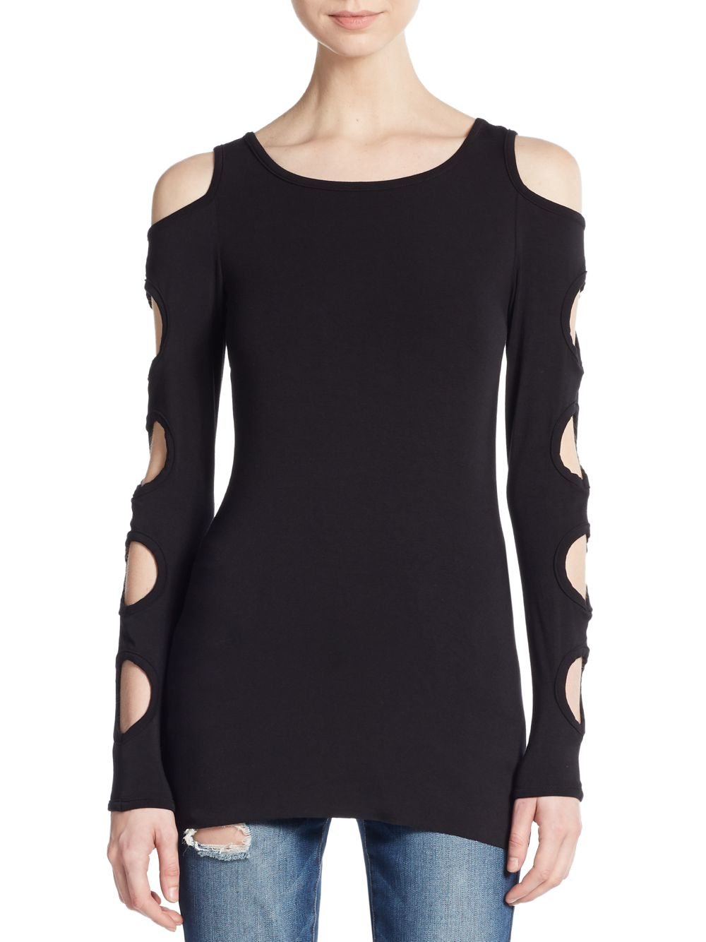 Bailey 44 Black Hole Cutout Cold Shoulder Top In Black Lyst