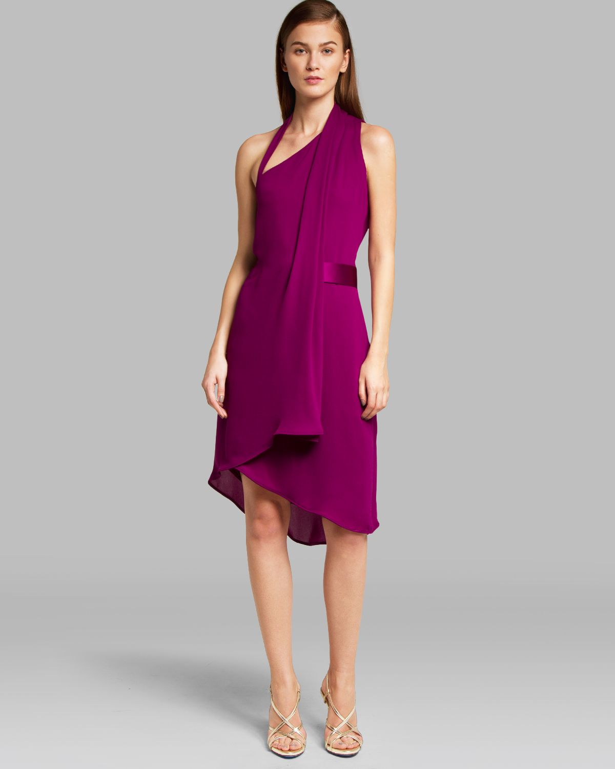 Halston Dress Asymmetric Wrap Belted in Purple | Lyst
