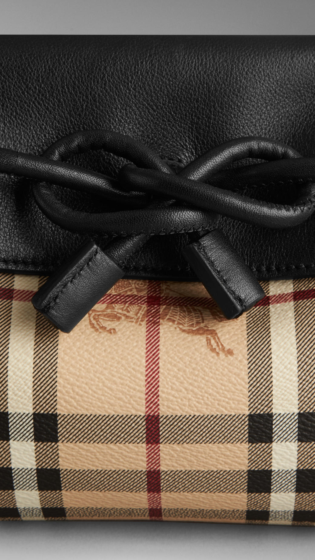 3c3f75986f43 Lyst - Burberry Small Leather And Haymarket Check Clutch Bag in Black