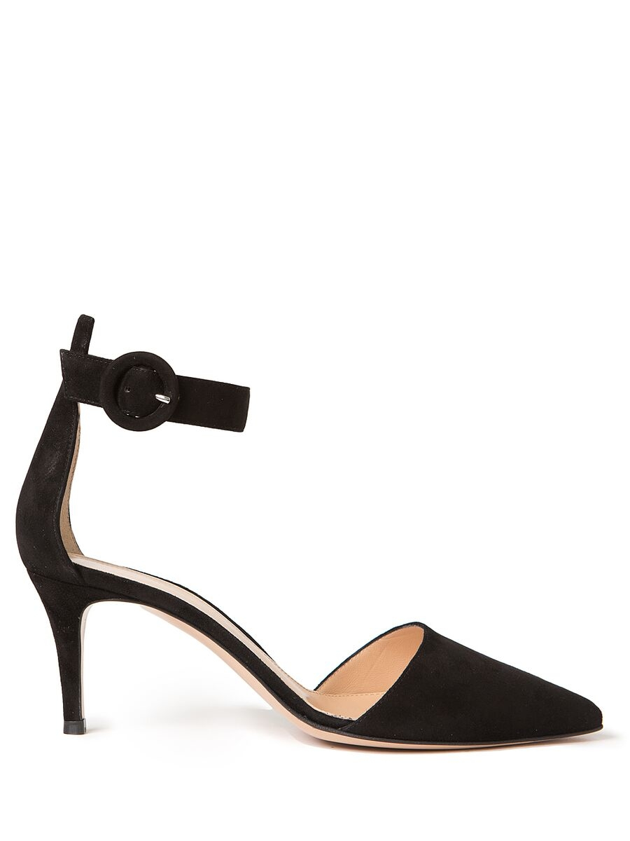 Gianvito rossi Ankle Strap Kitten Heels in Black | Lyst