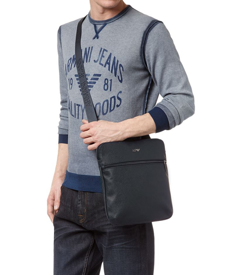 Armani Jeans Saffiano Leather Messenger Bag In Blue For Men Lyst