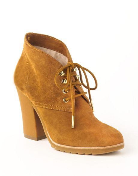michael michael kors suede laceup ankle boots in brown