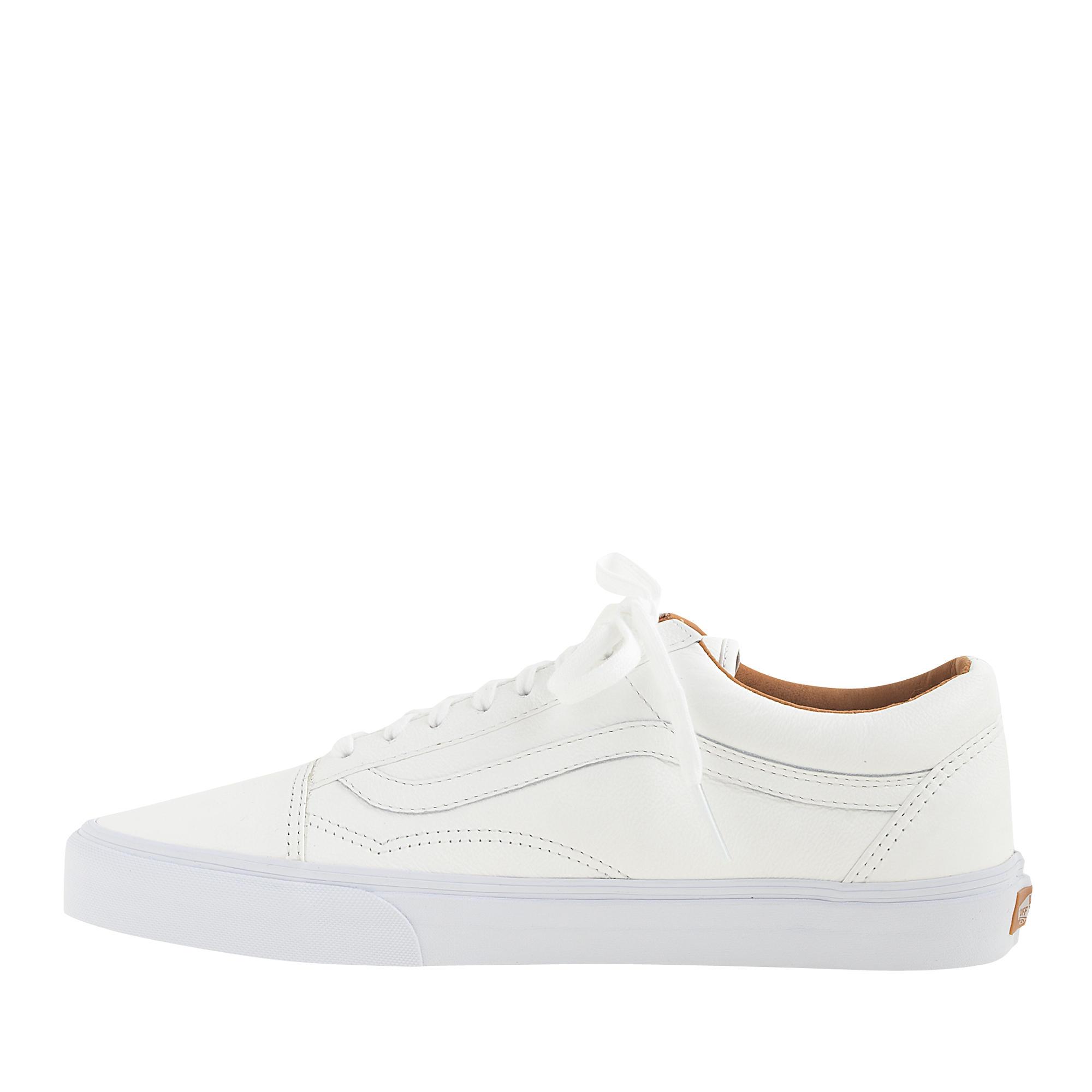 Lyst - J.Crew Unisex Vans® Old Skool Leather Sneakers in White for Men df7ba47e9b
