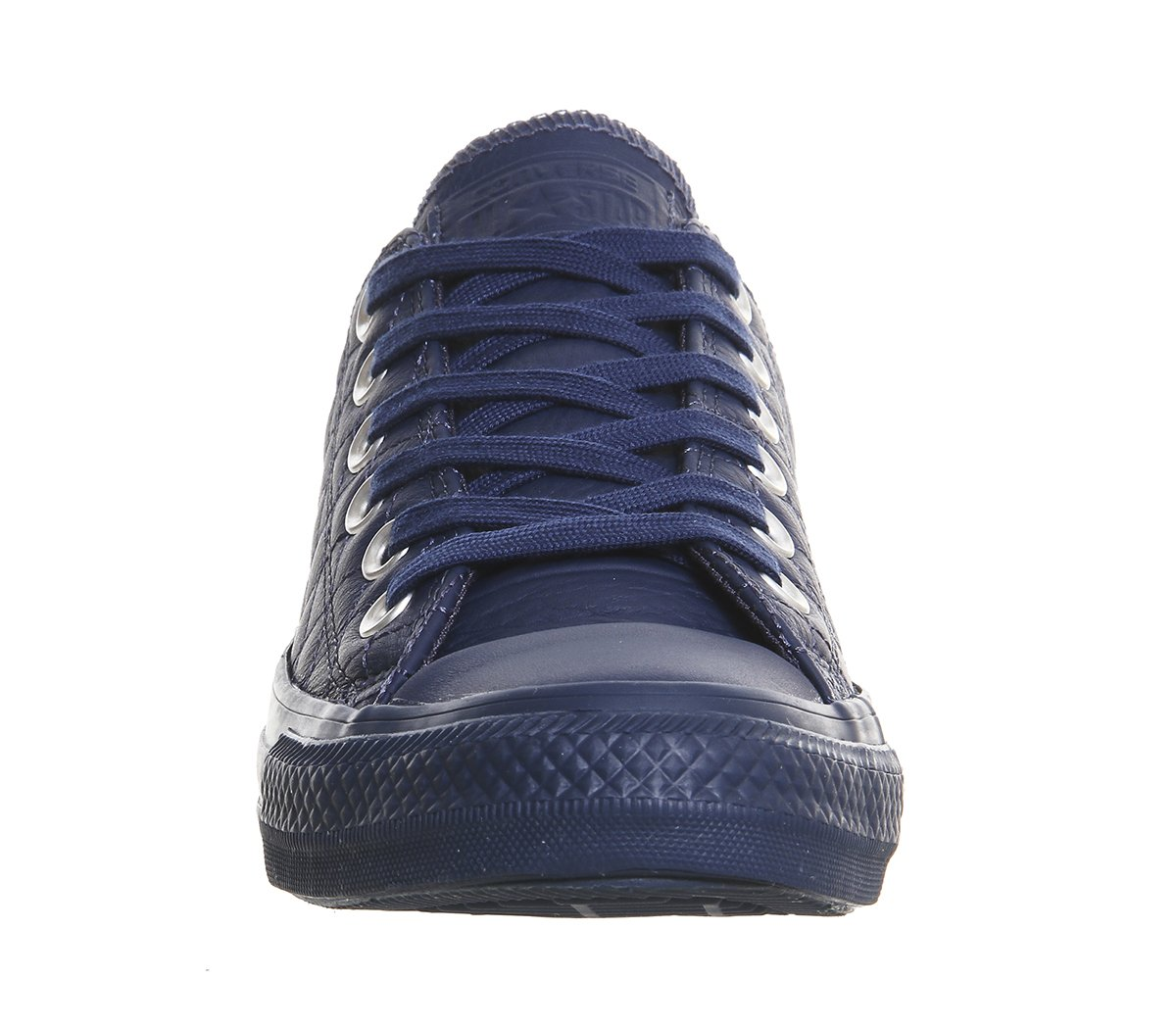 navy blue leather converse