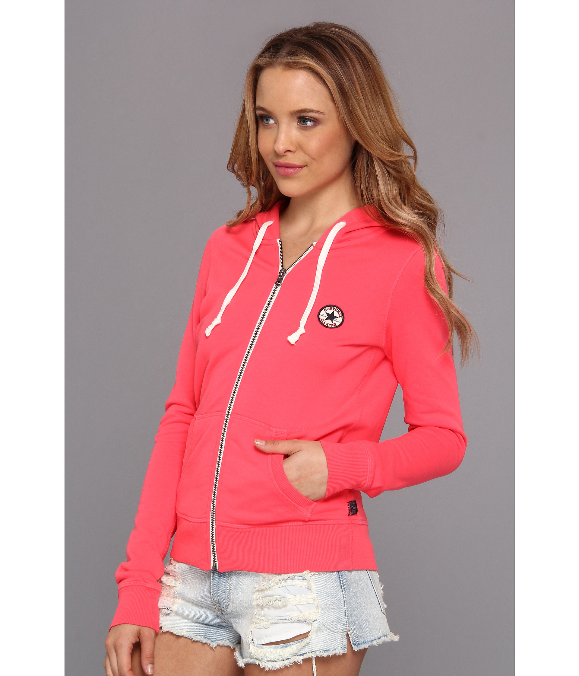fb3d7a5148aa Lyst - Converse French Terry Chuck Patch Full Zip Hoodie in Pink