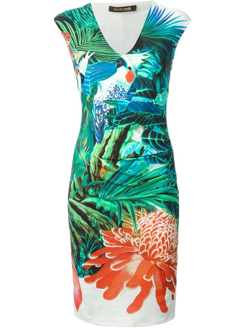 Lyst - Roberto Cavalli Tropical Print Dress in Blue ffc00d092