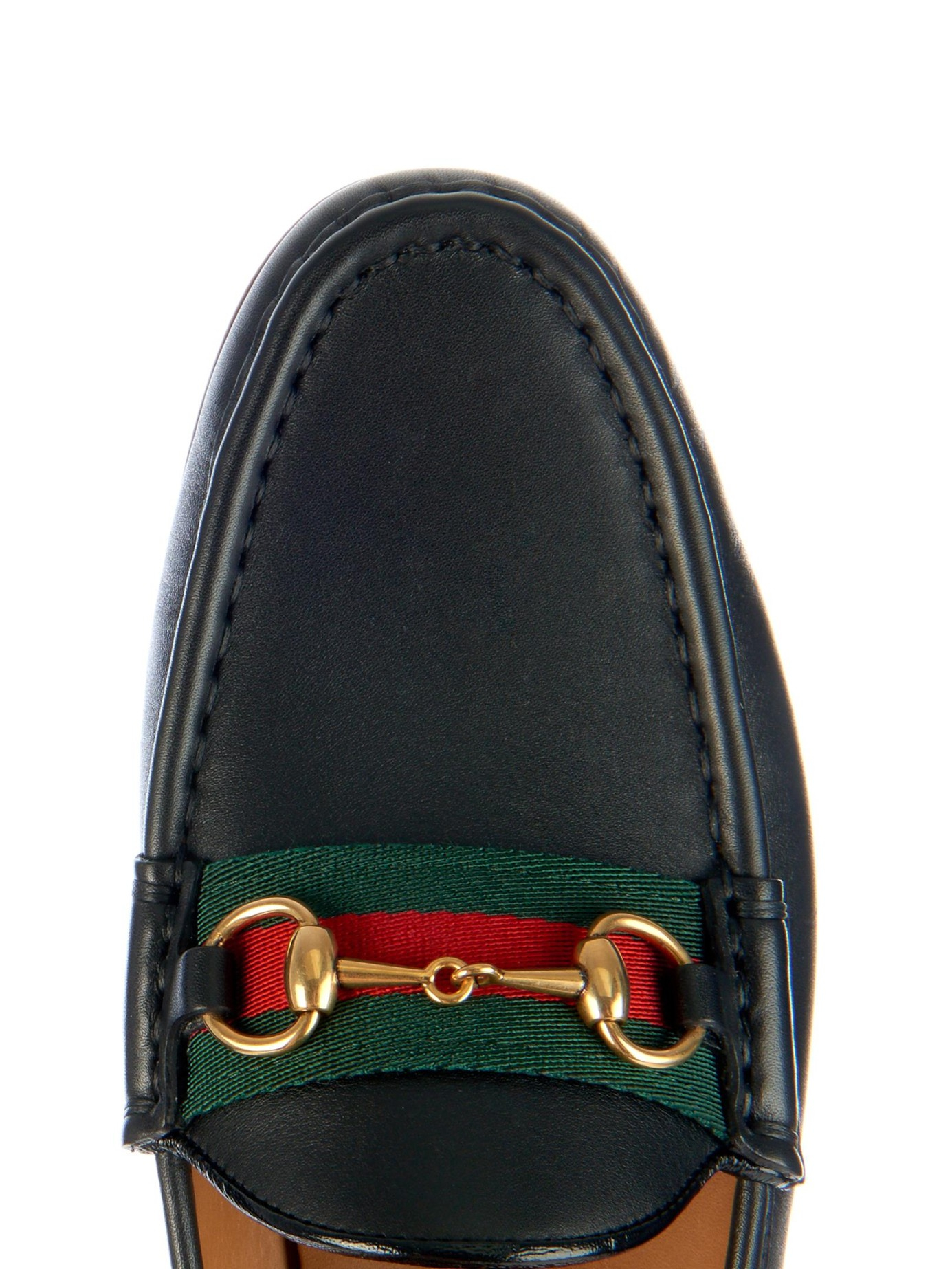 lyst gucci horsebit and web leather loafers in black