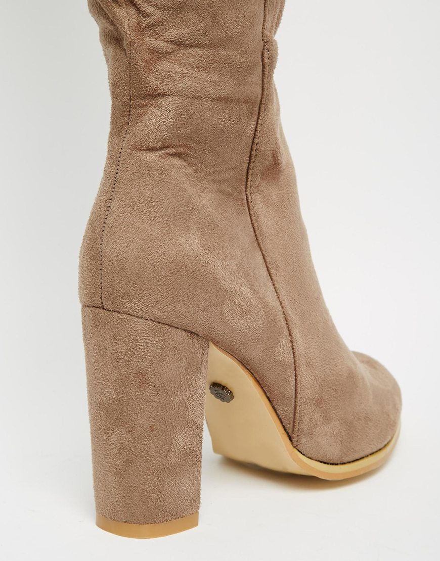 Lyst Daisy Street Taupe Block Heel Over The Knee Boots