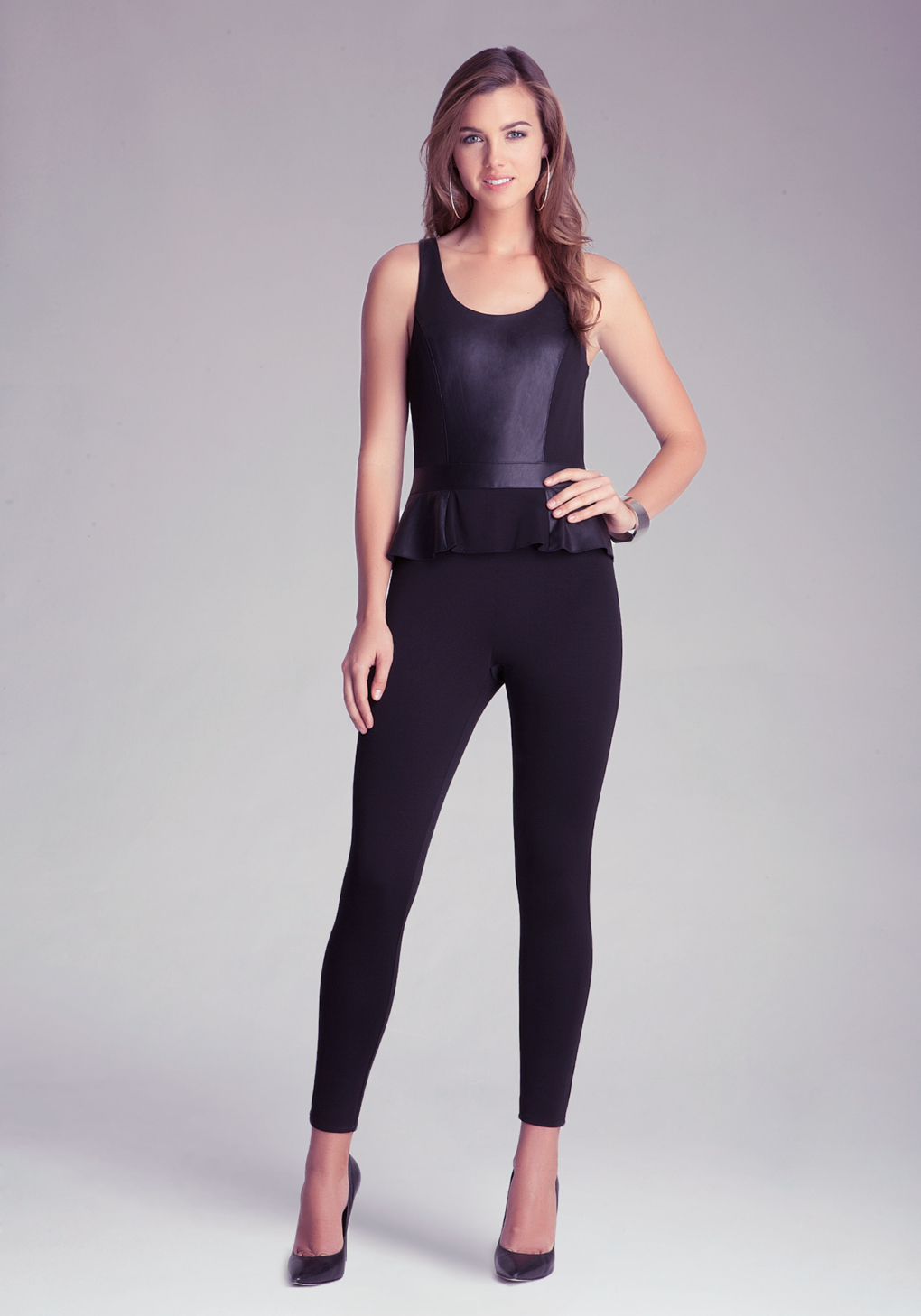 bebe petite peplum jumpsuit in black lyst. Black Bedroom Furniture Sets. Home Design Ideas