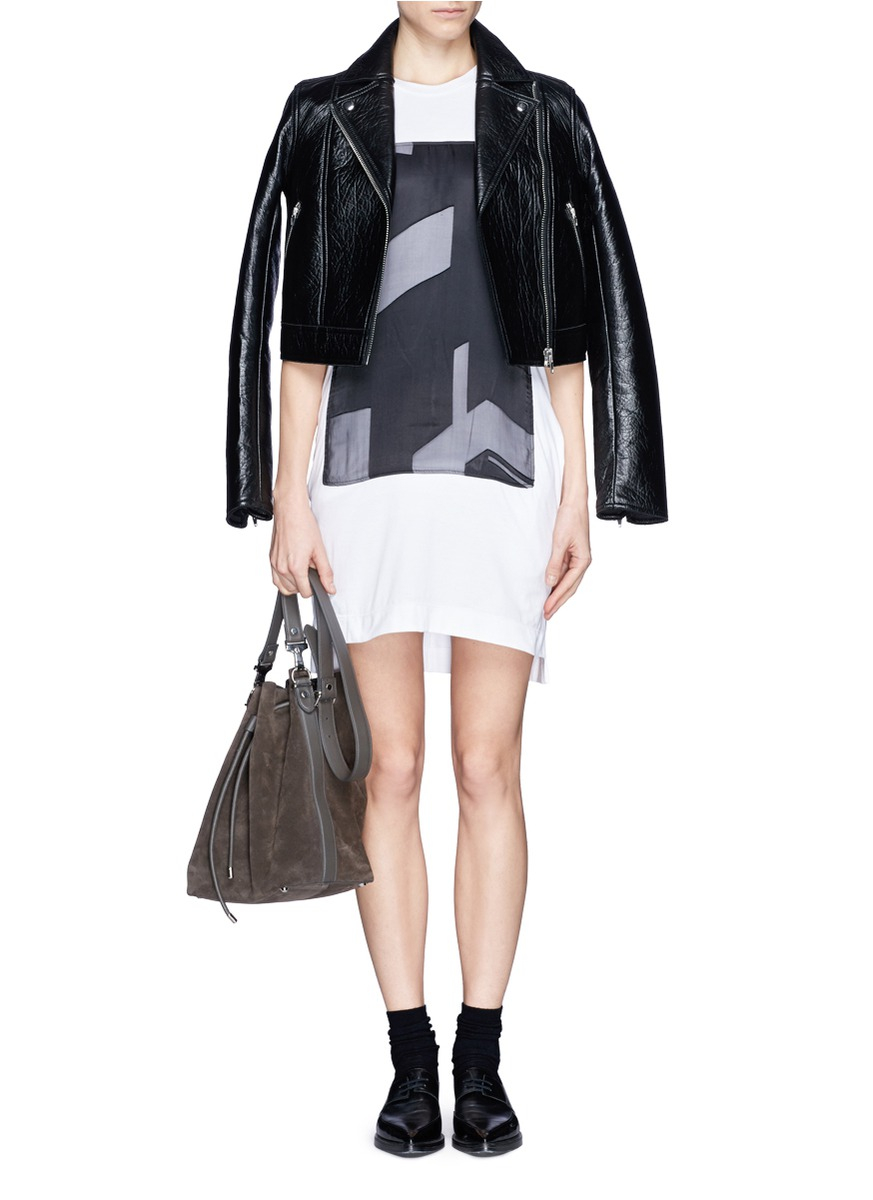 helmut lang 39 pact 39 print jersey t shirt dress in gray lyst. Black Bedroom Furniture Sets. Home Design Ideas