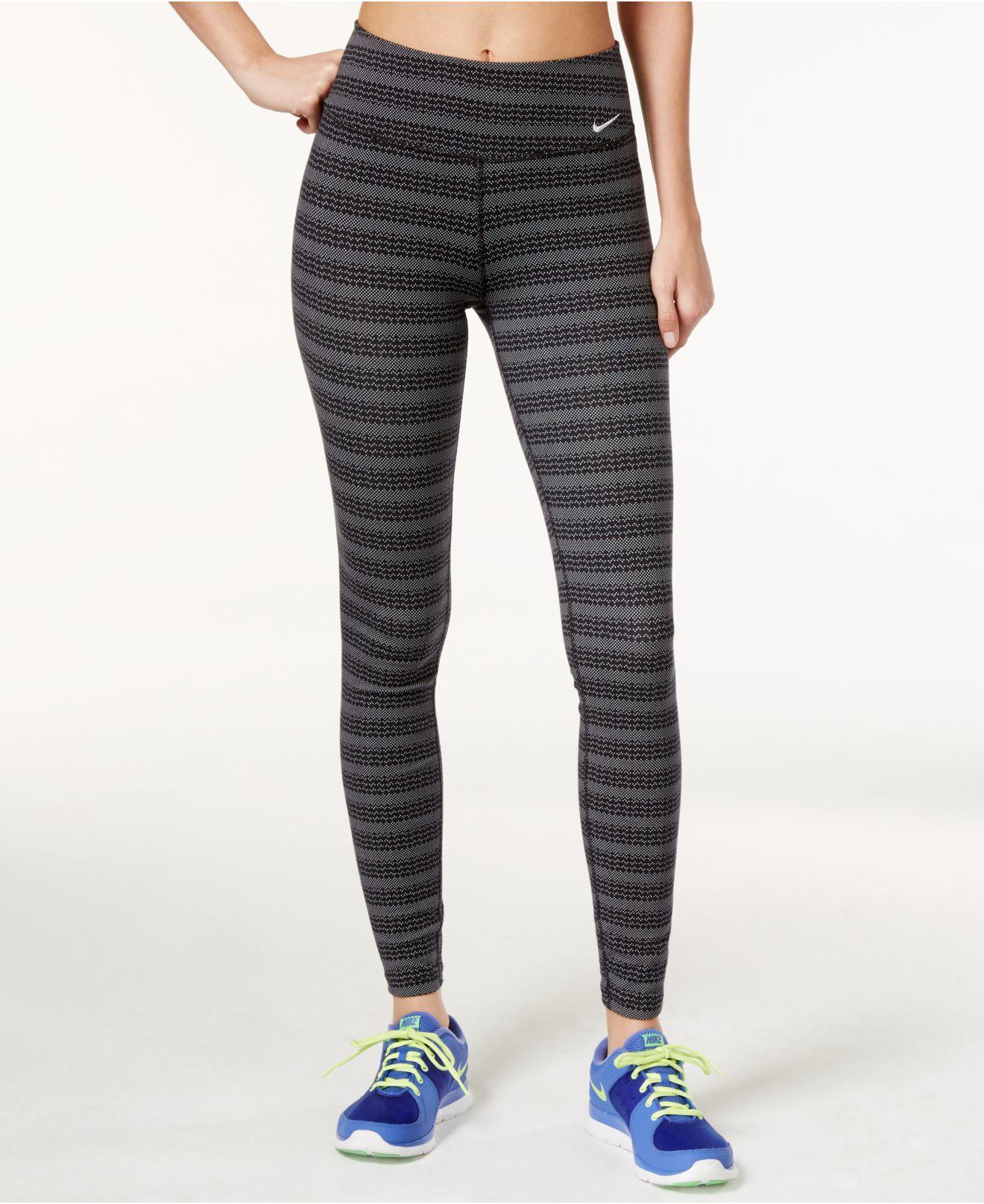 Nike Legend Dri Fit Zigzag Dot Print Leggings In Black Lyst