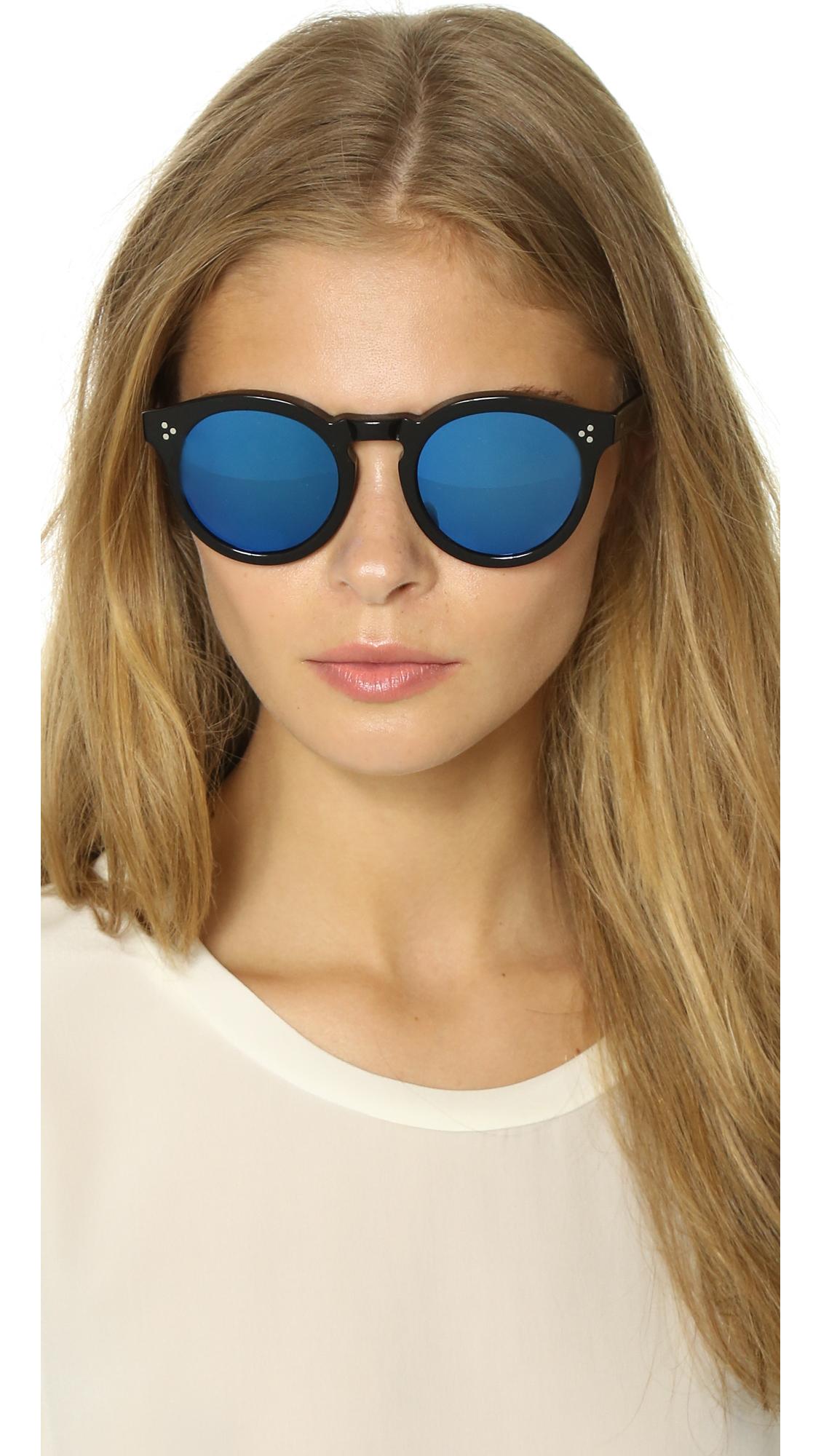 285ace852be Lyst - Illesteva Leonard Ii Mirrored Sunglasses - Black blue in Blue