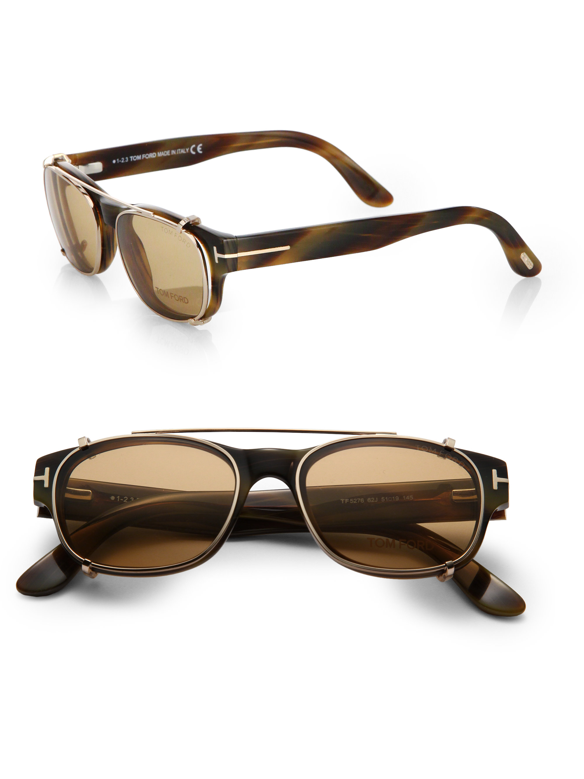 Lyst Tom Ford 5276 Optical Frames With Clip In Brown For Men