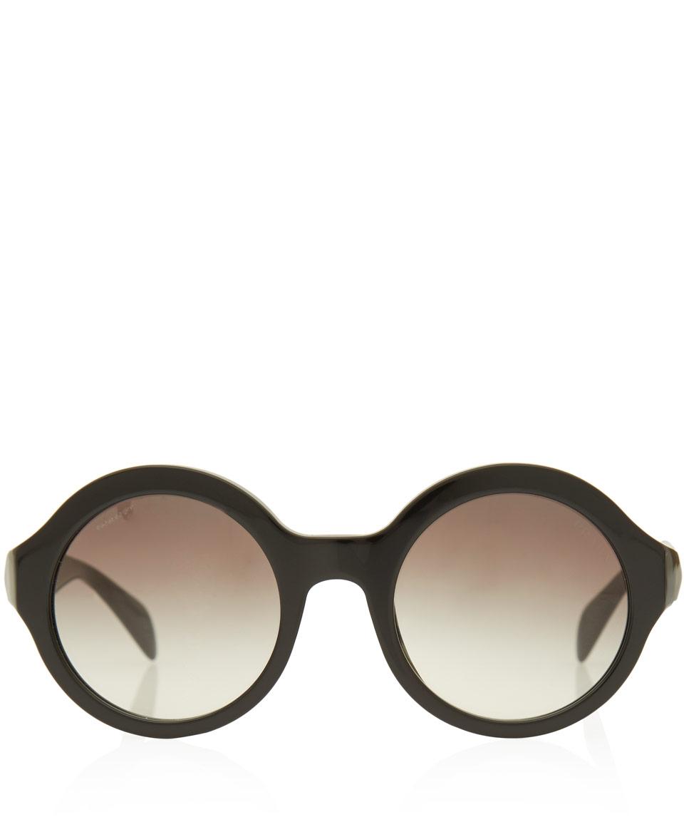 ff67ac4adfd3 Prada Black Oversized Round Frame Acetate Sunglasses in Black - Lyst