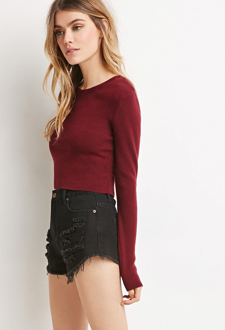 Forever 21 Classic Cropped Sweater in Red (BURGUNDY)
