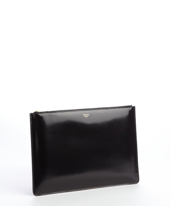 C¨¦line Black Patent Leather Clutch in Black | Lyst