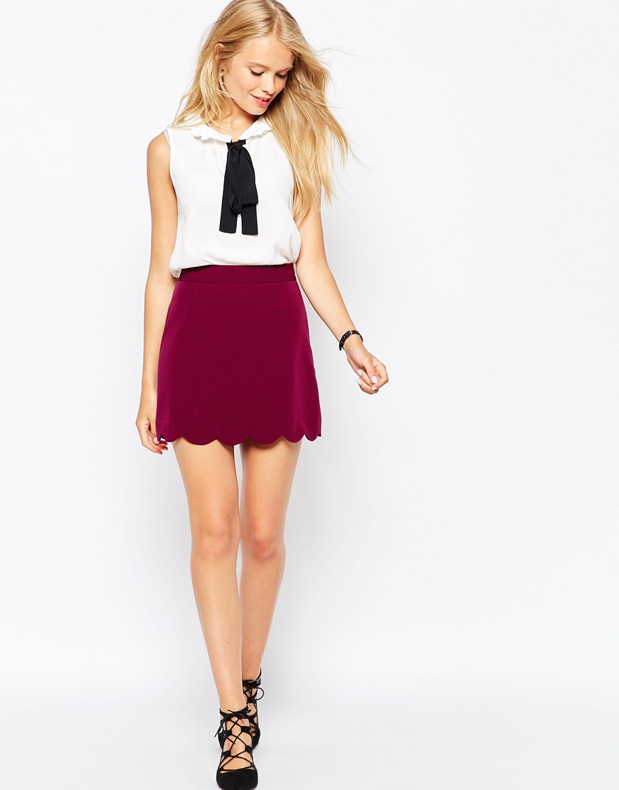 9804921cf1 ASOS A-line Mini Skirt With Scallop Hem in Pink - Lyst
