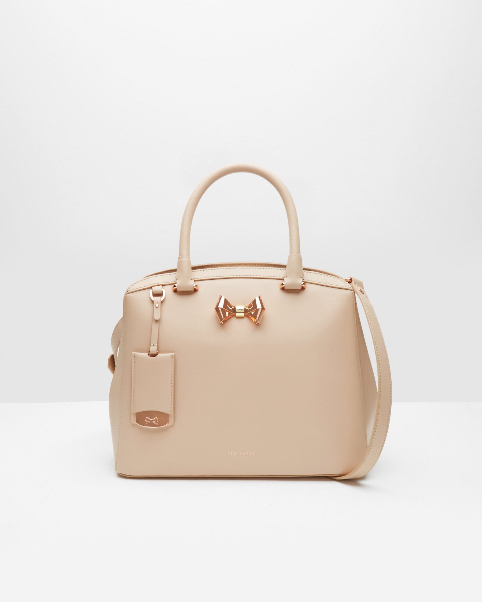 7ca2b46c210 Ted Baker Bow Detail Leather Large Tote Bag in Natural - Lyst