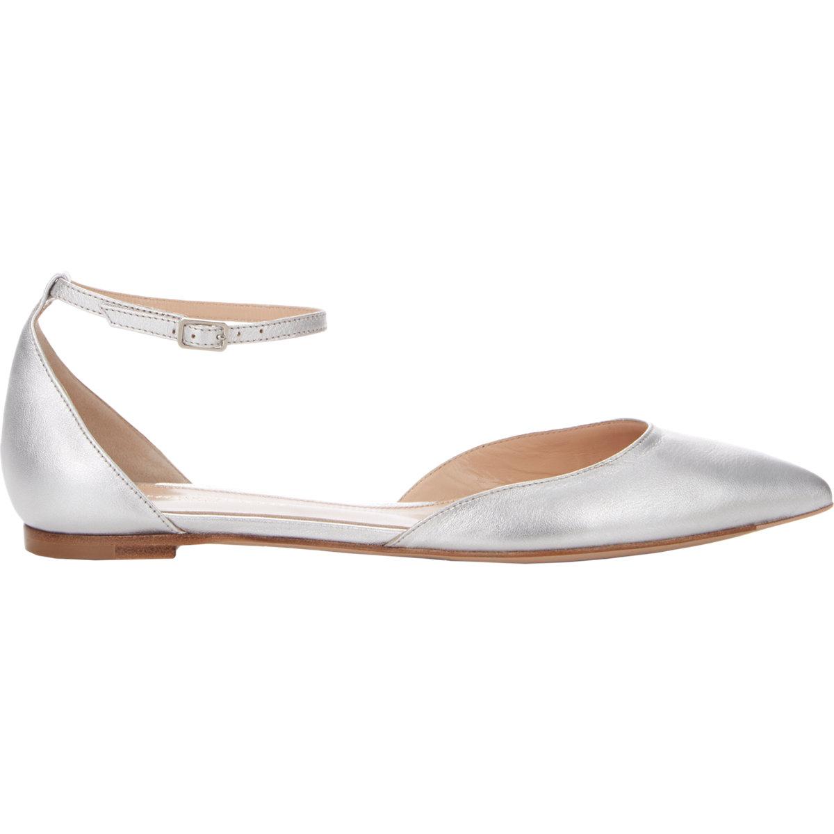 5c15b5b36cf1 Lyst - Gianvito Rossi Women s Ankle-strap D orsay Flats in Metallic