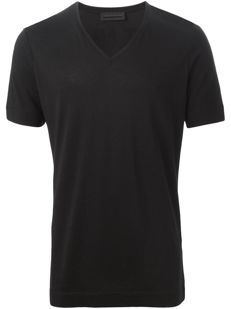 Lyst diesel black gold back print v neck t shirt in for V neck back shirt
