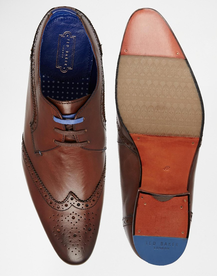 009758fc6 Lyst - Ted Baker Hann Wing Tip Derby Shoes in Brown for Men