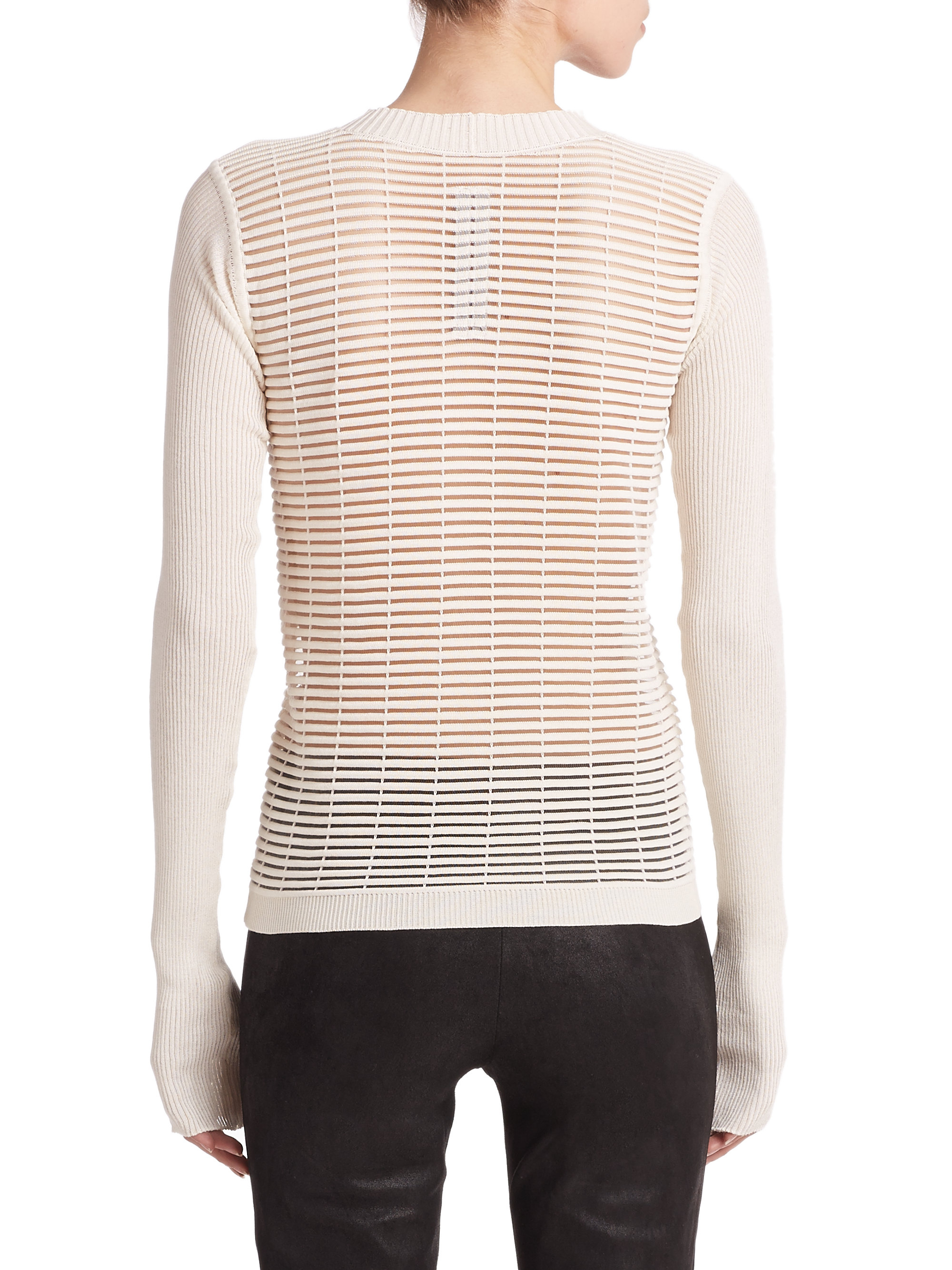 Open Knit Sweater Pattern : Rick owens Open-Knit Stripe Sweater in White Lyst