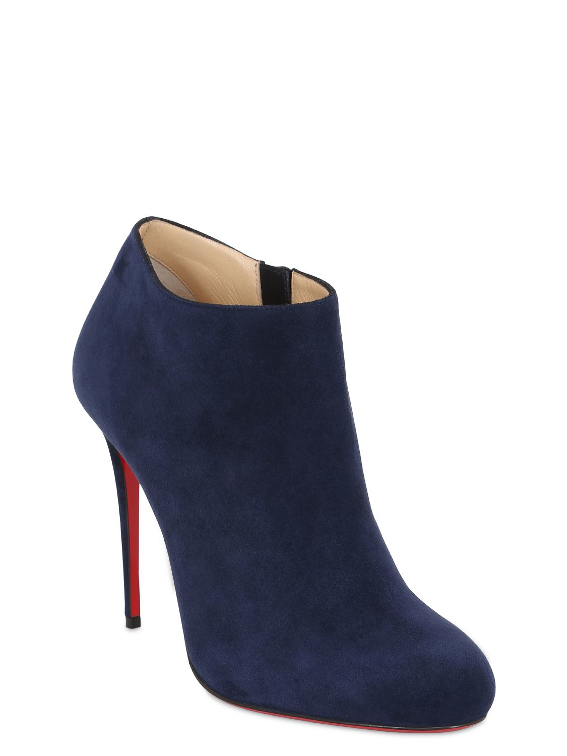 Christian Louboutin 100mm Bellissima Suede Ankle Boots In Blue Lyst