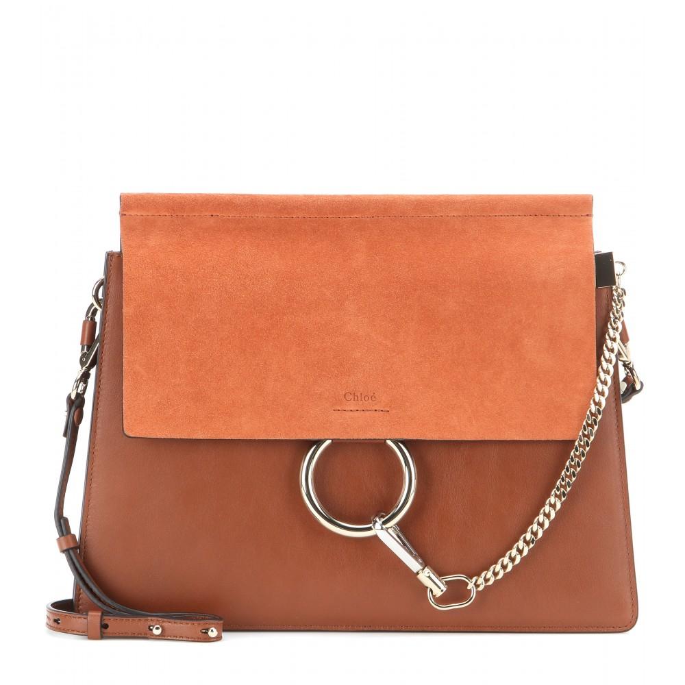 chlo faye leather and suede shoulder bag in red. Black Bedroom Furniture Sets. Home Design Ideas