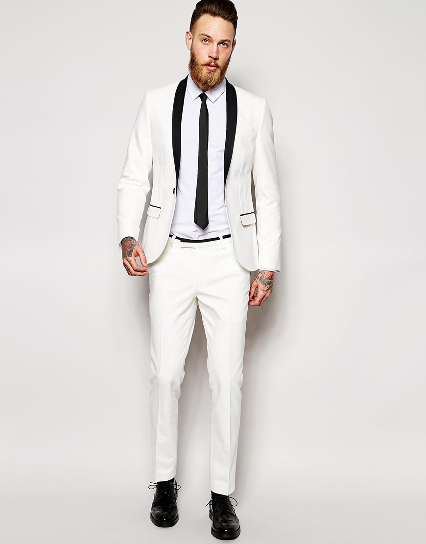 Noose and monkey Tuxedo Suit Jacket In Super Skinny Fit in White ...