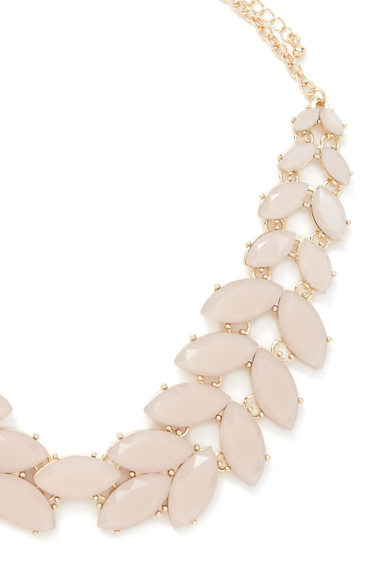 Forever 21 Faux Gem Statement Necklace in Pink | Lyst
