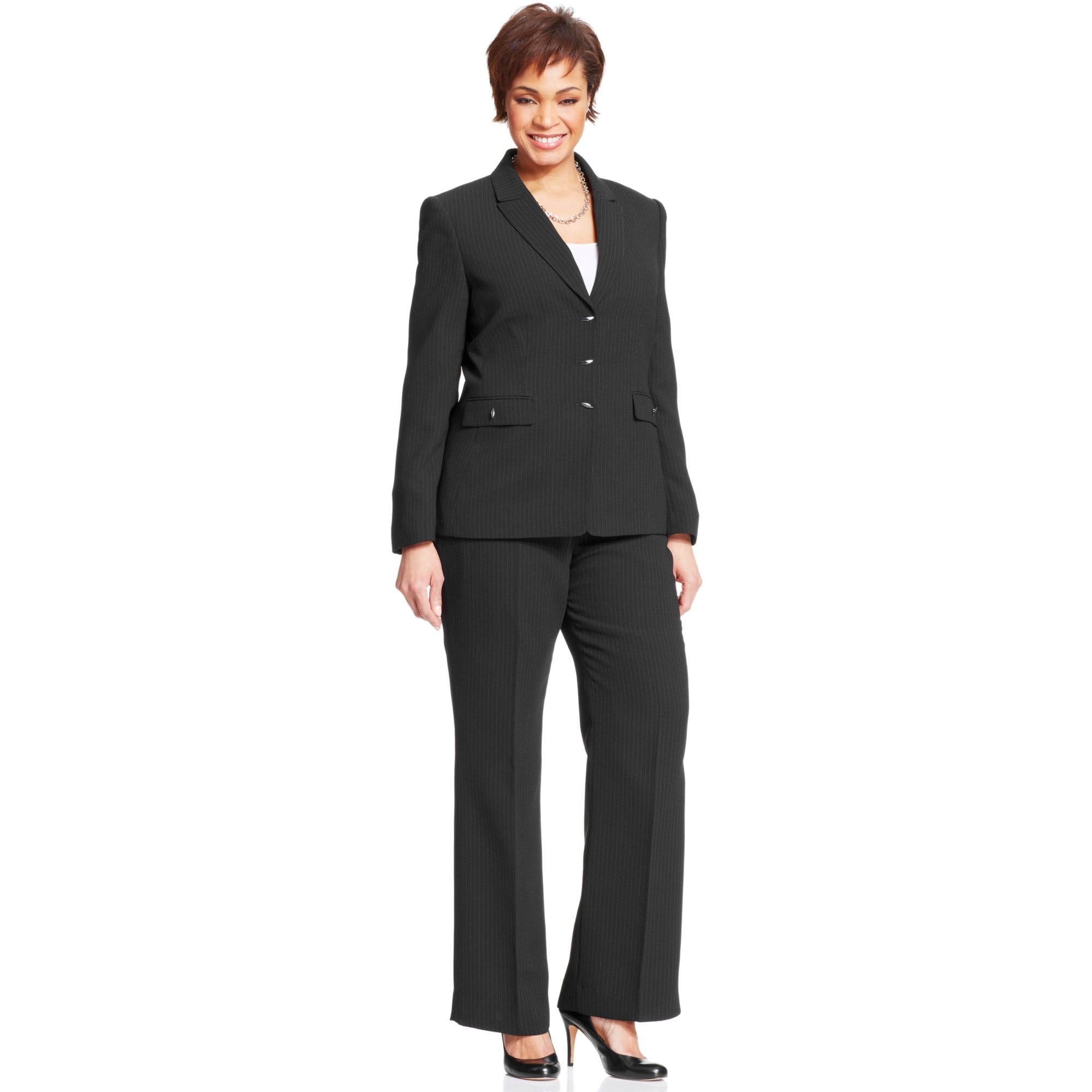 tahari by asl plus size pinstripe togglefront pantsuit in black lyst gallery